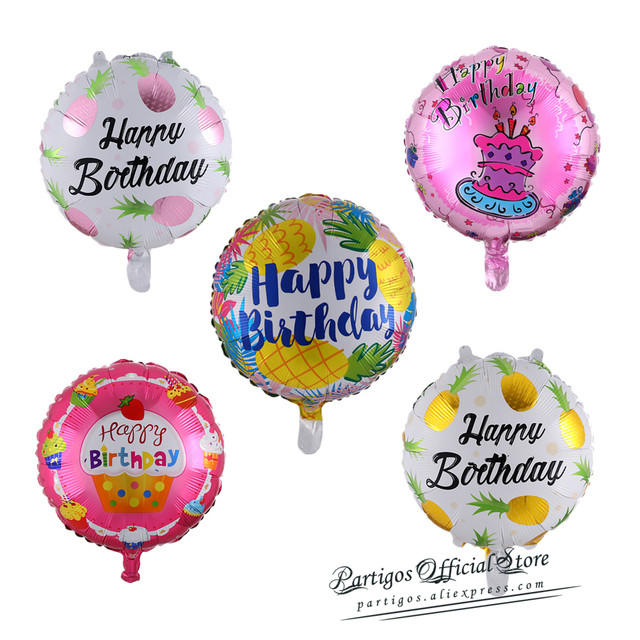 10 pcs 18 inch Happy Birthday balloons helium foil globos for girls kids birthday party decorations round star balloons