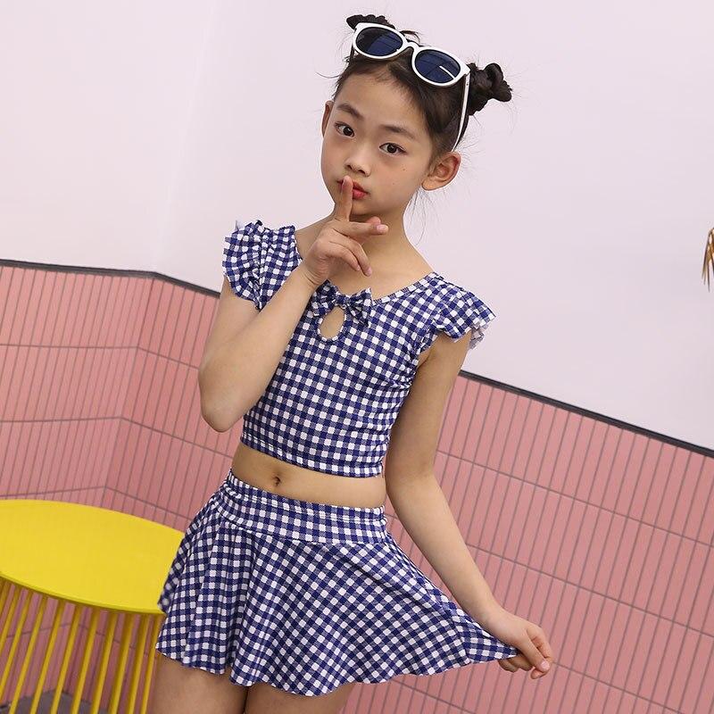 Hu Run CHILDREN'S Swimwear Girls Plaid Fashion Two-piece Swimsuits Big Boy Boxer Cute Hot Springs Swimwear