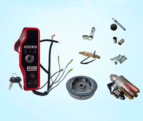 Top Quality! Electric Start Rebuild Kit(Incl. Start Motor/flywheel,coil Etc) For 173F/177F/GX240/GX270 8~9HP Gasoline Engine