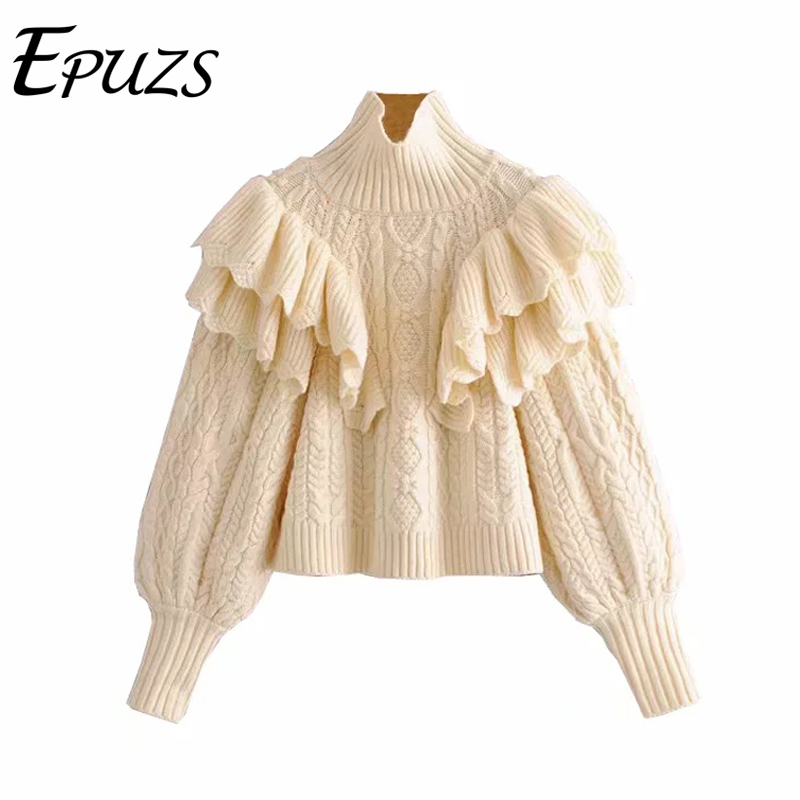 Winter Ruffle Turtleneck Sweater Women Pullovers Long Sleeve Knitted Sweater Casual Pull Femme Ladies Korean Sweater 2019