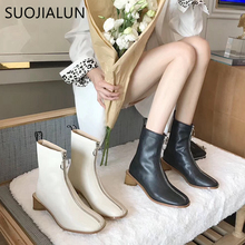 SUOJIALUN 2019 Autumn Women Boot Shoes British Front Zipper Martin Boots Round Toes Low Square Heel Ladies Ankle
