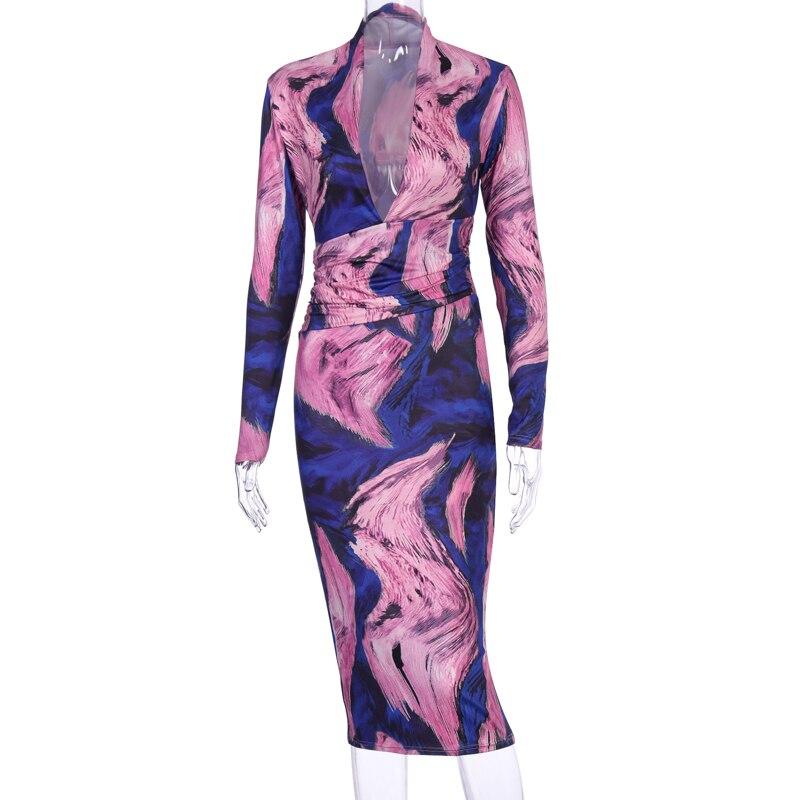 Hugcitar 2019 long sleeve tie tye V-neck sexy midi dress autumn winter women streetwear Christmas party outfits 7