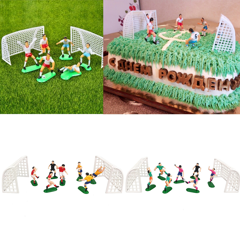 8Pcs/Set Soccer Football Cake Topper Kids Cupcake Topper Decor  Model Happy Birthday Party Supplies Children Party Decoration