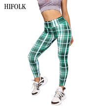 HIFOLK Fashion Plaid Skinny Leggings Women High Waist Quick Dry  Elastic Tartan Trousers Female workout Fitness Pants
