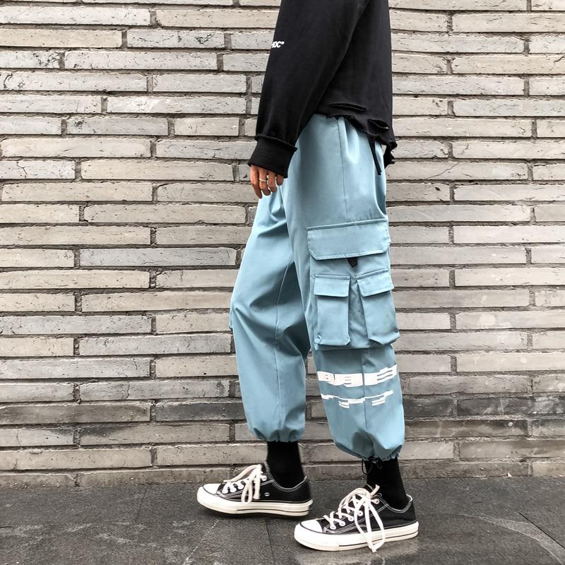 RLJT.JIN 2019 Multi-colored jogger style casual pants men High street country fashion unique pocket mens trousers Pencil pants