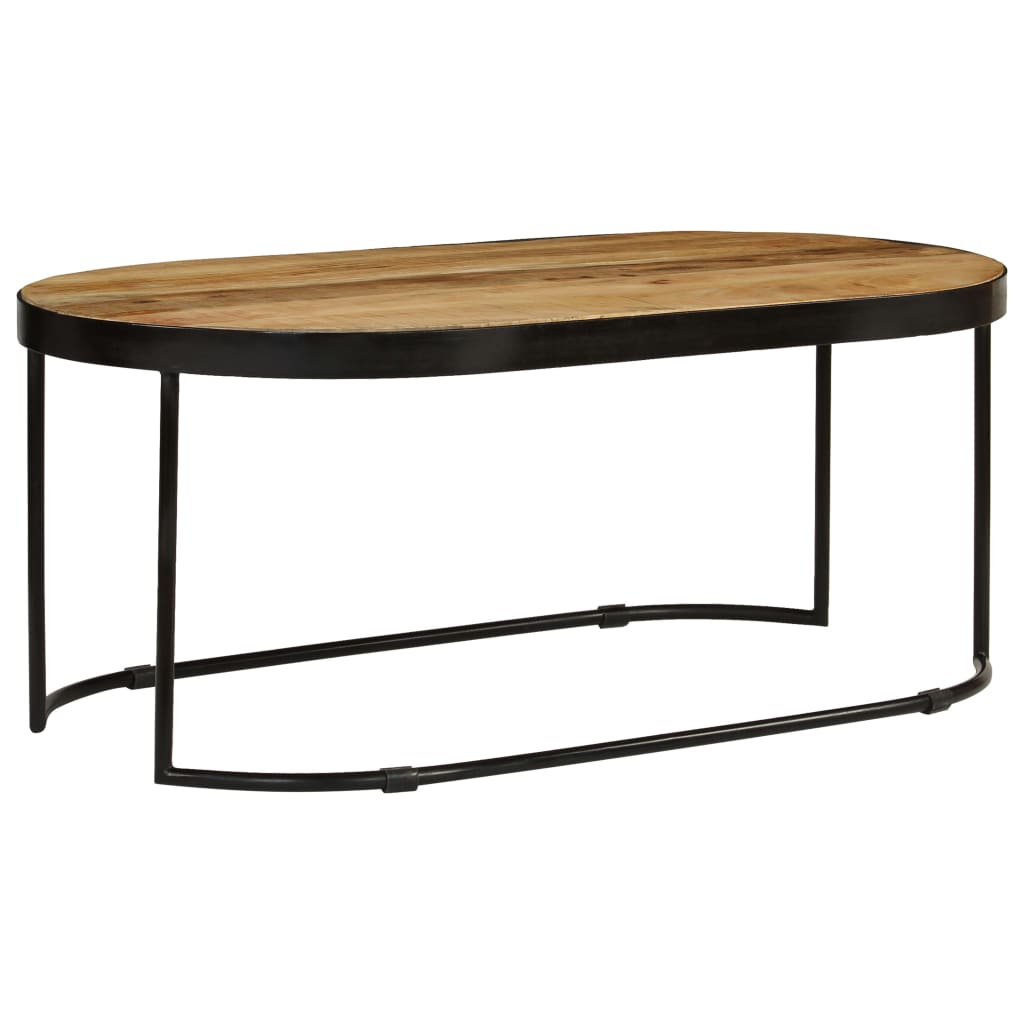 VidaXL Coffee Table Oval Solid Rough Mango Wood And Steel 100 Cm
