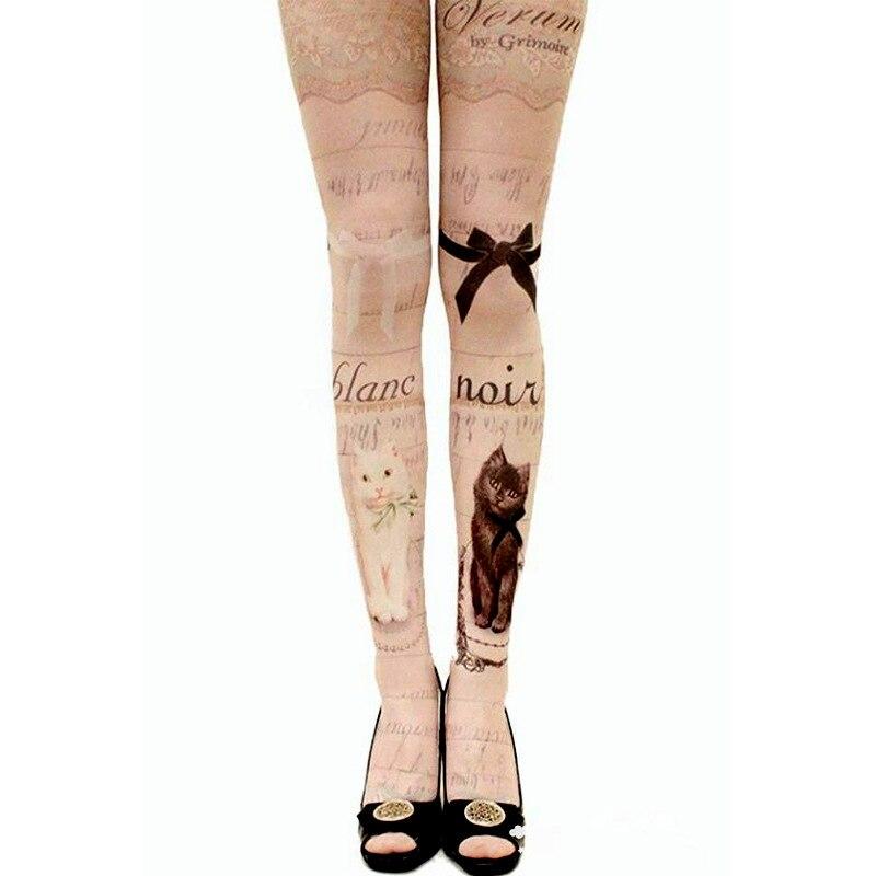 Herbst Frauen Harajuku Tattoo Katze Strumpfhosen Weibliche Lolita Phantasie Strumpf Medias Party Hosen Samt strumpfhosen