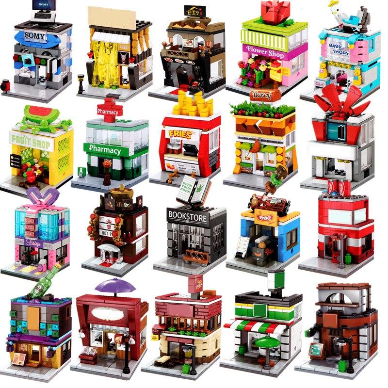 Гоночный автомобиль полиция город мини улица продовольствие розничный магазин Китай архитектура строительные блоки кирпичи игрушки рожде...