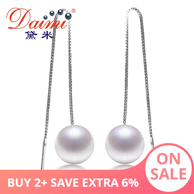 DAIMI Fashion Dangle Long Earrings Real Pearl Brand Jewelry Charms Long Drop White Pearl Earrings For Women 2015 Girls-in Earrings from Jewelry & Accessories    1