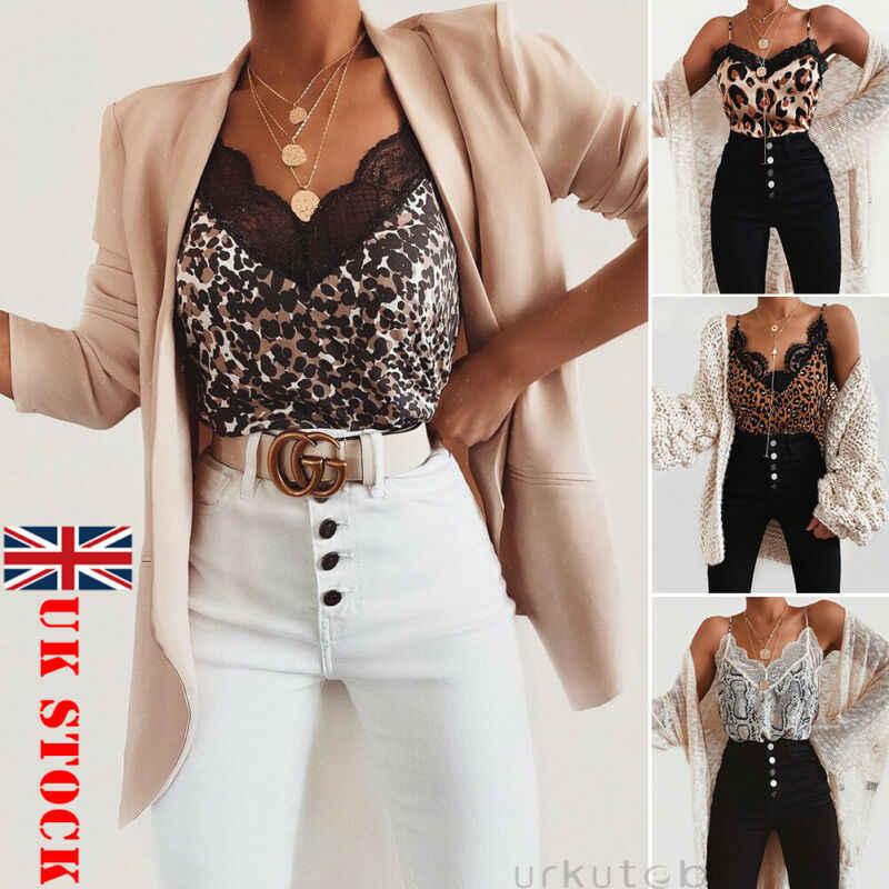 女性の夏のヒョウレースファッションキャミソールノースリーブベストカジュアルタンクシルクレディースルーズ V ネックキャミソール Tシャツプラスサイズ