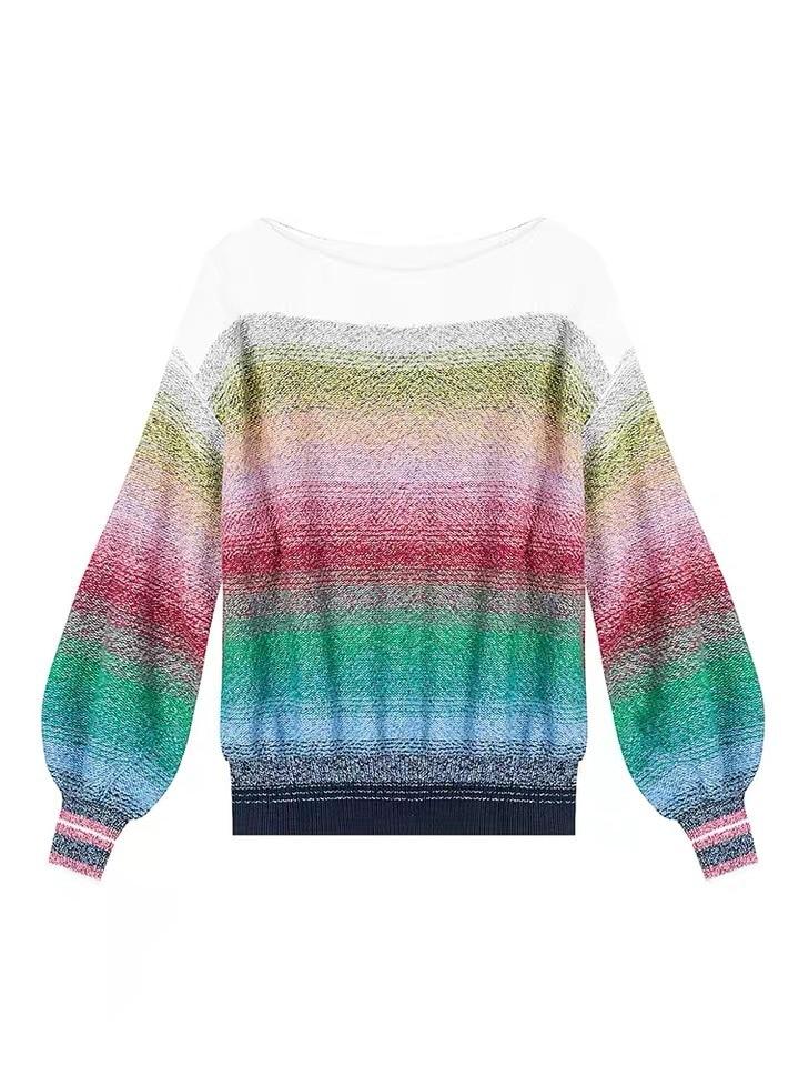 女性の勾配のセーター初秋コレクションの花のランタンスリーブルーズセーター  グループ上の レディース衣服 からの プルオーバー の中 3