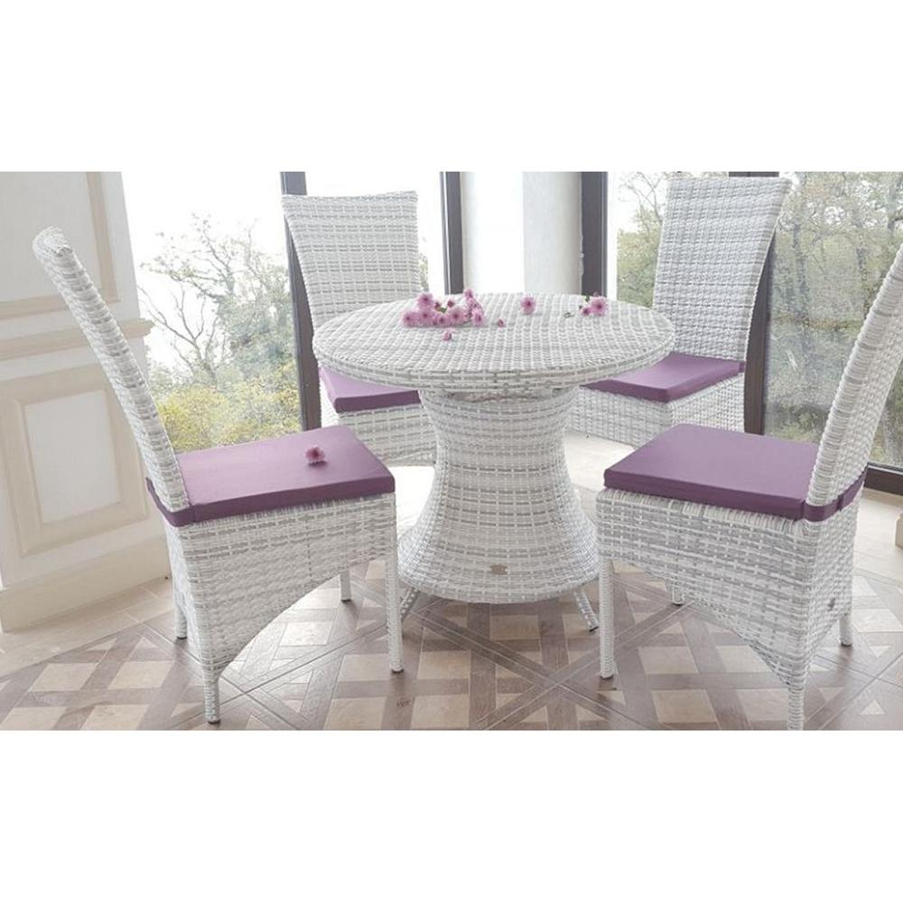 Set обеденной Furniture Faux Rattan Round Table And 4 Chairs Sienna