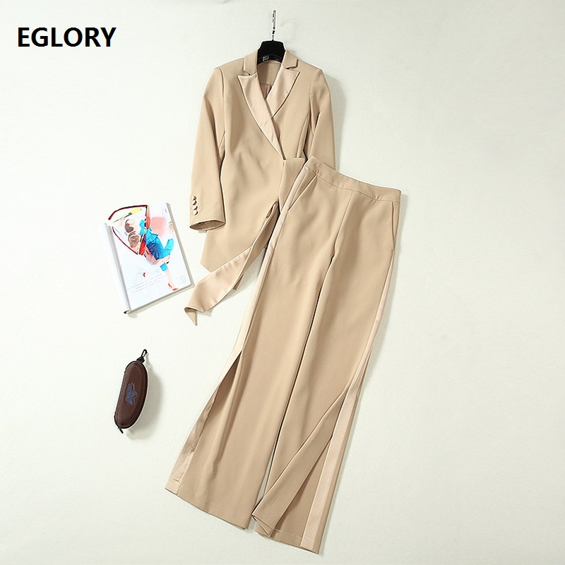 Elegant Work Suit 2019 Autumn Fashion Jacket Set Women Notched Collar Blazer Coat+Full Length Pant Set Female Clothing Two Piece