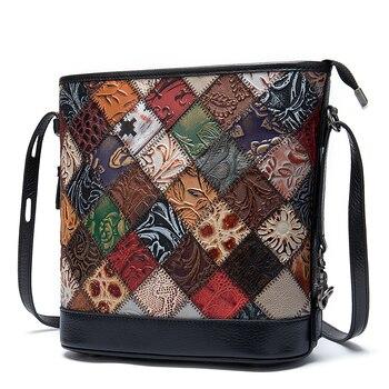Female Messenger Bucket Bag Patchwork Ladies Travel Bag Bohemian Real Genuine Embossed Leather Women Shoulder Crossbody Bags