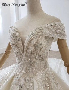 Image 5 - Luxury Crystals Lace Ball Gowns Wedding Dresses for Women Saudi Arabian Elegant Princess Off the Shoulder Bridal Gowns 2020