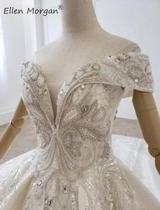 Image 5 - Luxus Kristalle Spitze Ballkleider Hochzeit Kleider für Frauen Saudi Arabischen Elegante Prinzessin Langen Ärmeln Perlen Brautkleider 2020