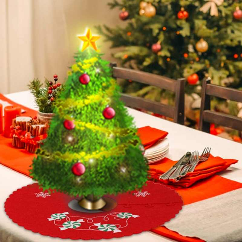 Christmas Non-Woven Fabric Tree Skirt Ruffle Edge Xmas Tree Foot Cover Carpet Merry Christmas Decoration New Year Decoration