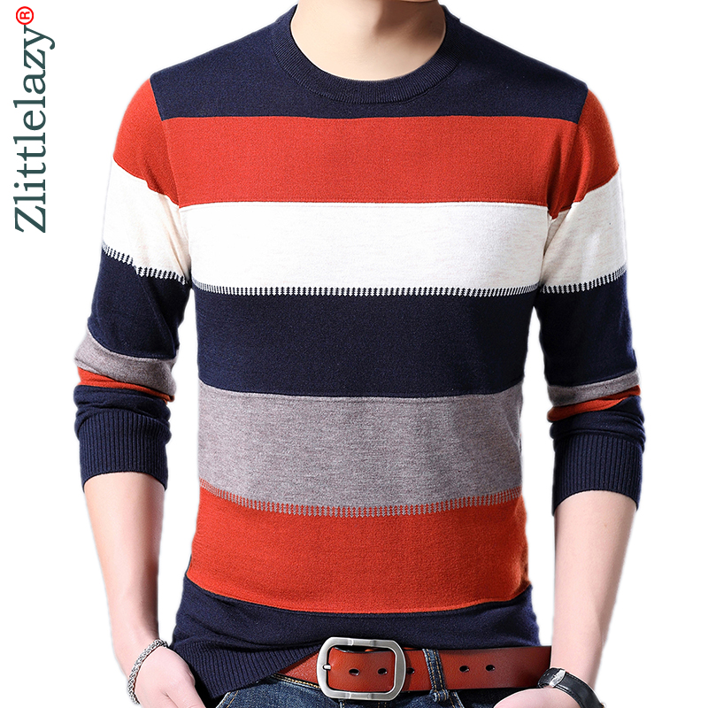 2019 Brand New Casual Thin Striped Knitted Pull Sweater Men Wear Jersey Dress Luxury Pullover Mens Sweaters Male Fashions 81013