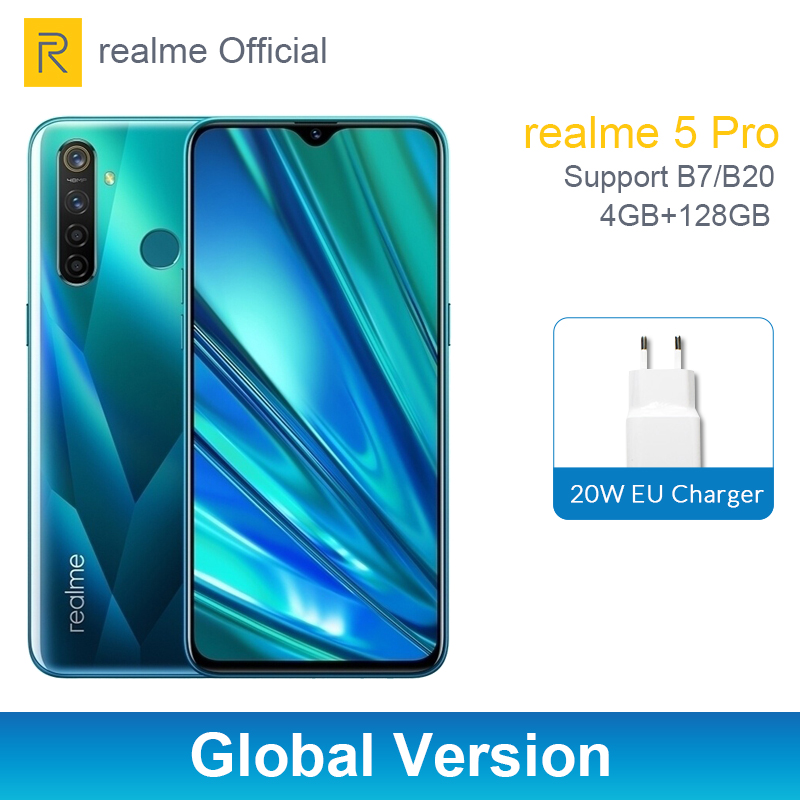 Realme 5 Pro 4GB 128 GB 6.3'' Moblie Phone Snapdragon 712 AIE Octa Core 48MP Quad Camera Cellphone 20W Fast Charger