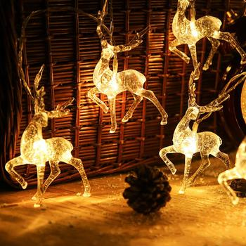 LED Christmas Light String Deer Elk Shape Decoration Lantern Transparent for Home
