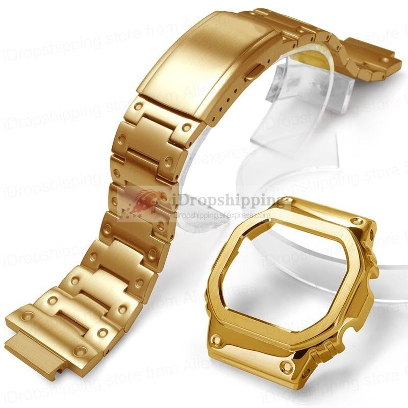 DW 5600 Strap Watch band bezel 5600 Metal GWM5610 GW5000 Stainless Steel Watchband Case Frame Bracelet Repair Tools Wholesale