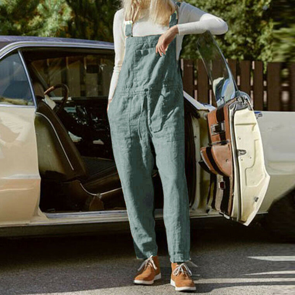 Fashion Plus Size Women Solid Pocket Sleeveless Pants Female Ladies Bandage Belted Causal Bodysuit Fashion Loose Jumpsuit Clothe