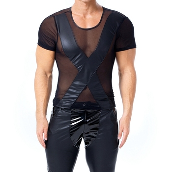 Gothic Men Faux PU Leather T Shirts Men Sexy Fitness Sheer Mesh Tops Gay Latex T-shirt Mens stage Tops Tee Sexy Party Clubwear sexy midriff baring tops