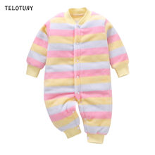 TELOTUNY 2019 New Autumn Winter Baby Romper Cute Striped Jumpsuit Infant Kids Girls Boys Fleece Thicken Warm Jumpers Clothes 910(China)