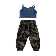 2021 Girl Clothes Kids Baby Girl Summer Outfit Children Girls Off Shoulder Denim Shirt T-shirt Tops+Camo Long Pants Clothes