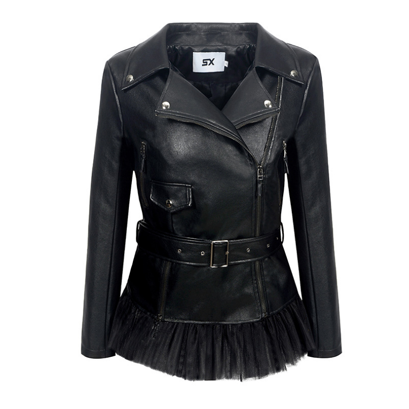 Liva girl Women Pu   Leather   Jacket Sweet Girl   Leather   Coat Short Style Ruffles Black Female Coat