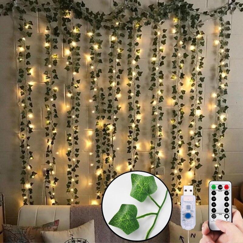 12pcs Artificial Plants LED Leaf Garland Silk Rattan Leaf Vine Hanging For Home Living Room Decor Fake Ivy Garland Decoration