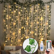 12pcs Artificial Plants LED Leaf Garland Silk Rattan Leaf Vine Hanging For Home Living Room Decor Fake Ivy Garland Decoration