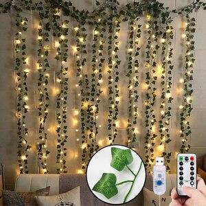 12pcs Artificial Plants LED Leaf Garland Silk Rattan Leaf Vine Hanging For Home Living Room Decor Fake Ivy Garland Decoration(China)