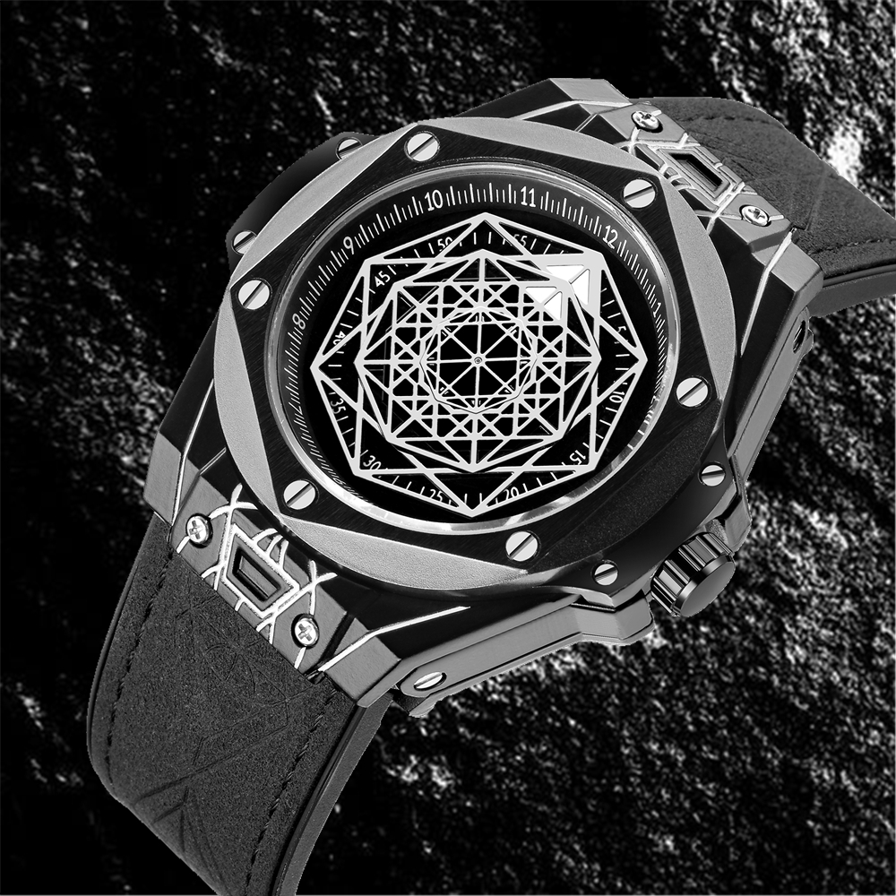 2019 Relogio masculino New Man Luxury Brand Sports Watch Multilateral 3D design Mens Military Rubber Strap Big Dial Male Clock