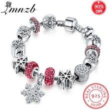 90%-ная скидка! серебряный шарм 925 пробы браслет и браслет с Подвеска из снежинки хрустальные бусины для женщин Свадебные украшения подарок YB211