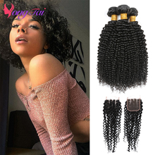 YuYongtai Raw Indain Afro Kinky Curly Bundles With Lace Closure 100% Human Hair Extensions Deep Curly Non-Remy Natural Color