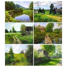 Full Square Round Small Drill Diamond Painting Landscape Mosaic Scenery Picture Rhinestone Home Decor