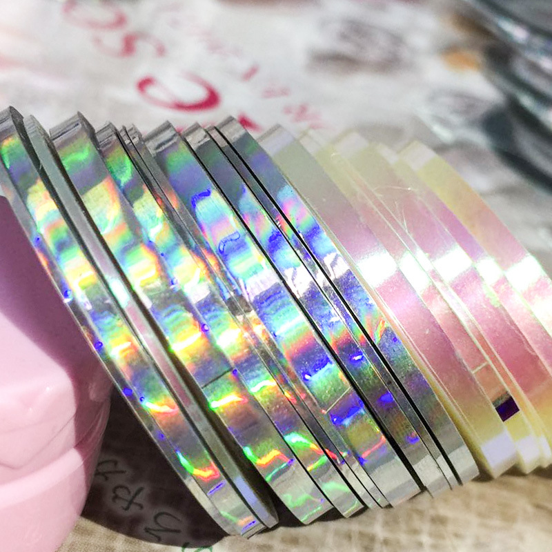 Manicure Rainbow Gold And Silver Thread Japanese-style Laser Rainbow Line Laser Gold And Silver Thread DIY Nail Stickers