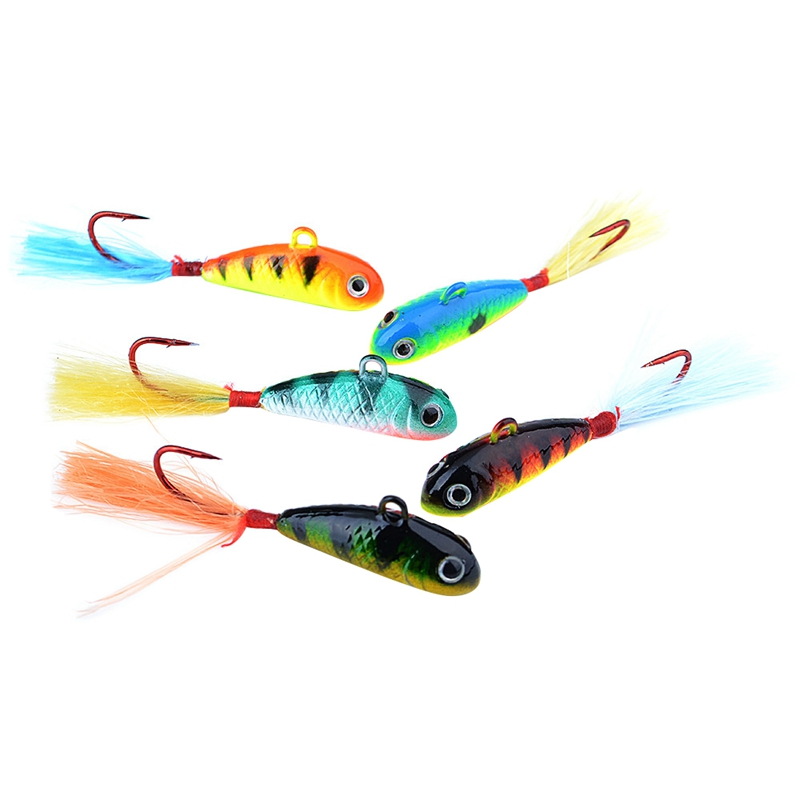 Ice Fishing Lure 5Pcs/Pack 5 Color Hard Winter Bait Lure Jig Head Hook with Feather Isca Artificial for Fishing Tackle 7G