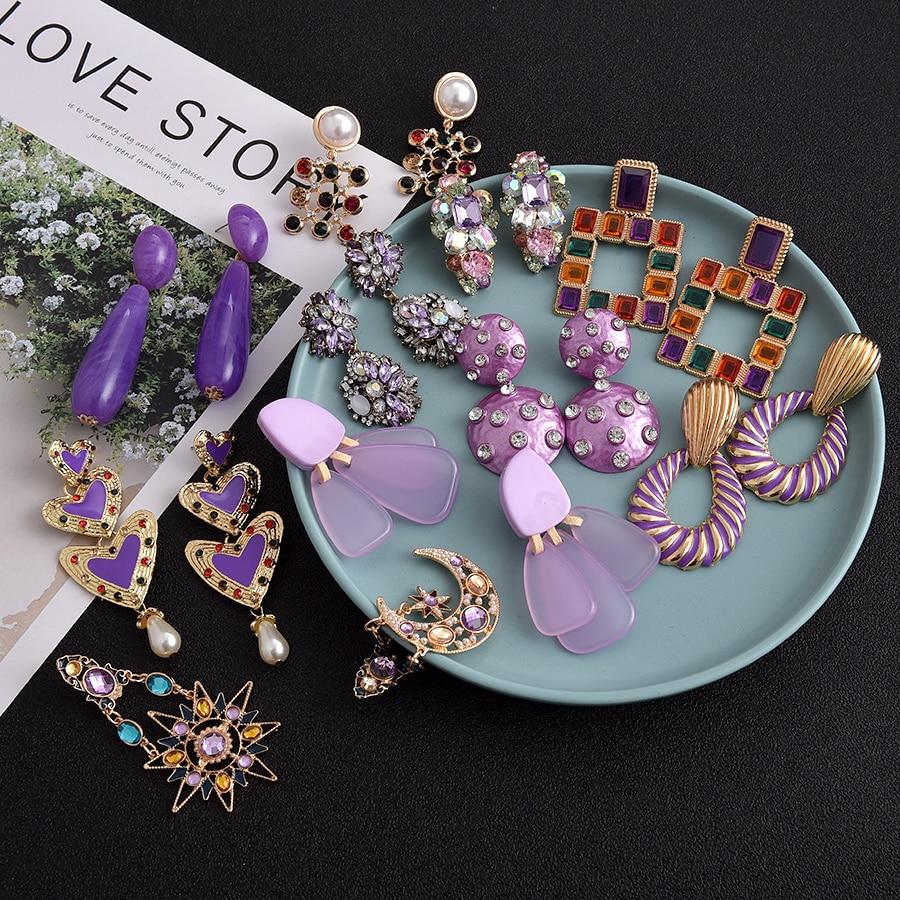 Ztech High Quality 32 Purple Stone Long boucle d'oreille femme 2019 Earrings For Women Party Wedding Drop Dange pendientes mujer