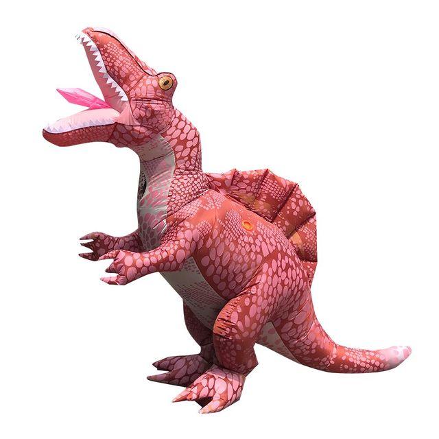 ผู้ใหญ่ไดโนเสาร์Jumpsuitฮาโลวีนคอสเพลย์Spinosaurusเครื่องแต่งกายCarnival Partyบทบาทเล่นDisfraz T Rexเด็กRomper