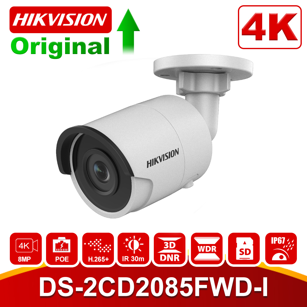 Hikvision Bullet 8MP IP Camera 4K DS-2CD2085FWD-I Outdoor 8 Megapixel CMOS Video Surveillance POE Cameras 30m IR SD Card Slot