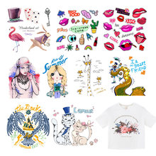 Setrika Pakaian Patch Ular Flamingo Bibir Transfer Panas Vinyl Patch Anak-anak T-shirt Pakaian DIY Magic Sticker Decals F(China)