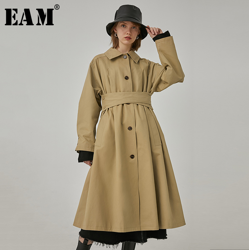 [EAM] Women Khaki Bandage Split Long Big Size Trench New Lapel Long Sleeve Loose Fit Windbreaker Fashion Tide Spring 2020 1R400