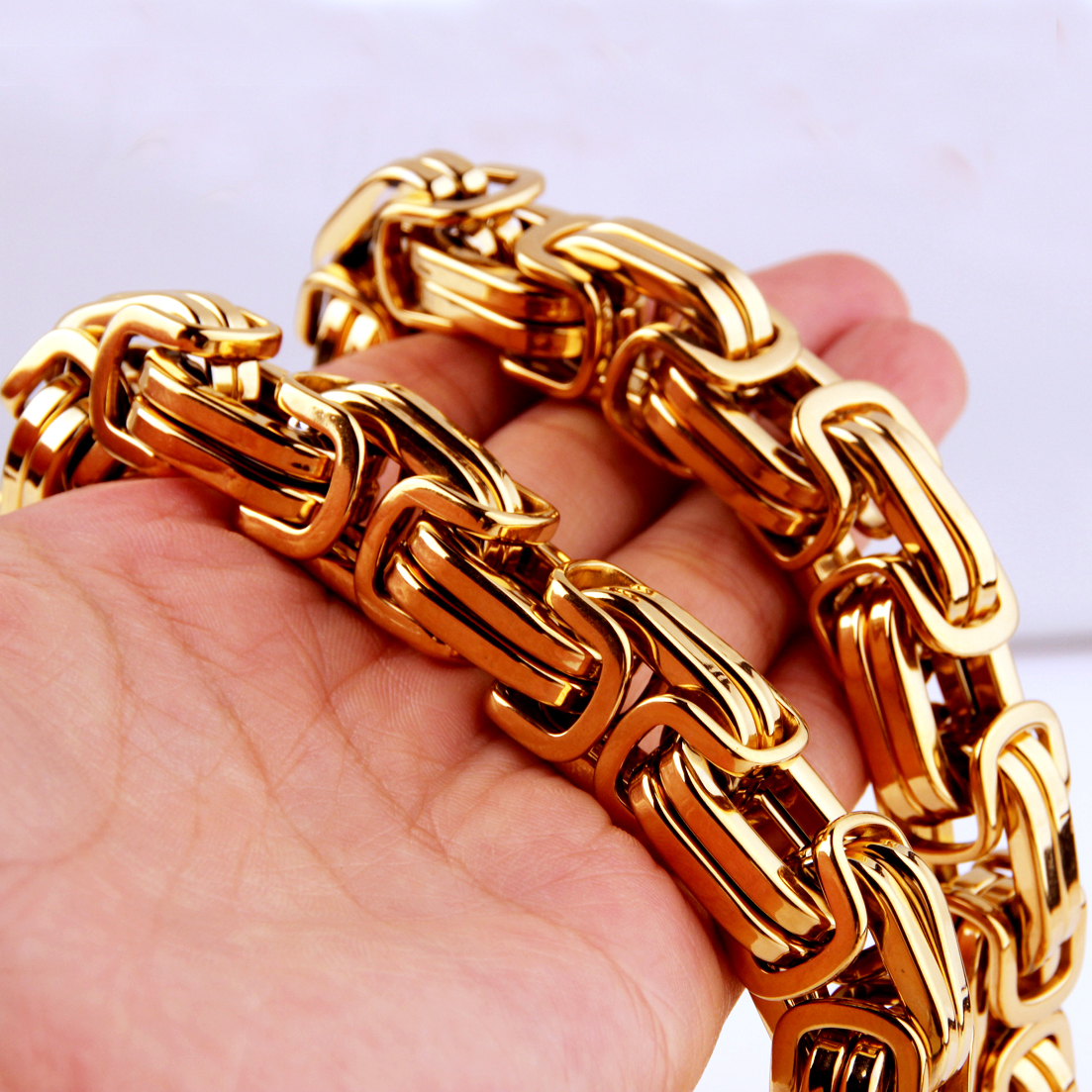 Customized Size 7 40 quot 8 12 15MM Huge Heavy 316L Stainless Steel Silver Gold Byzantine Chain Mens Necklace Bracelet Fashion Desig in Chain Necklaces from Jewelry amp Accessories