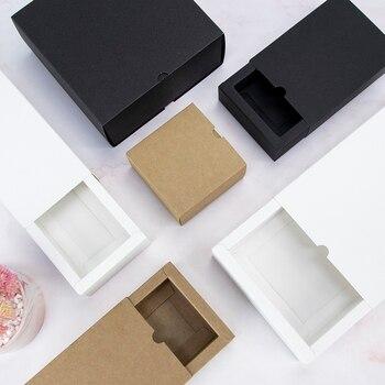 Caja de cartón blanca y negra para regalo, caja pequeña extraíble para joyería, dulces, chocolate, Festival, 10 Uds.
