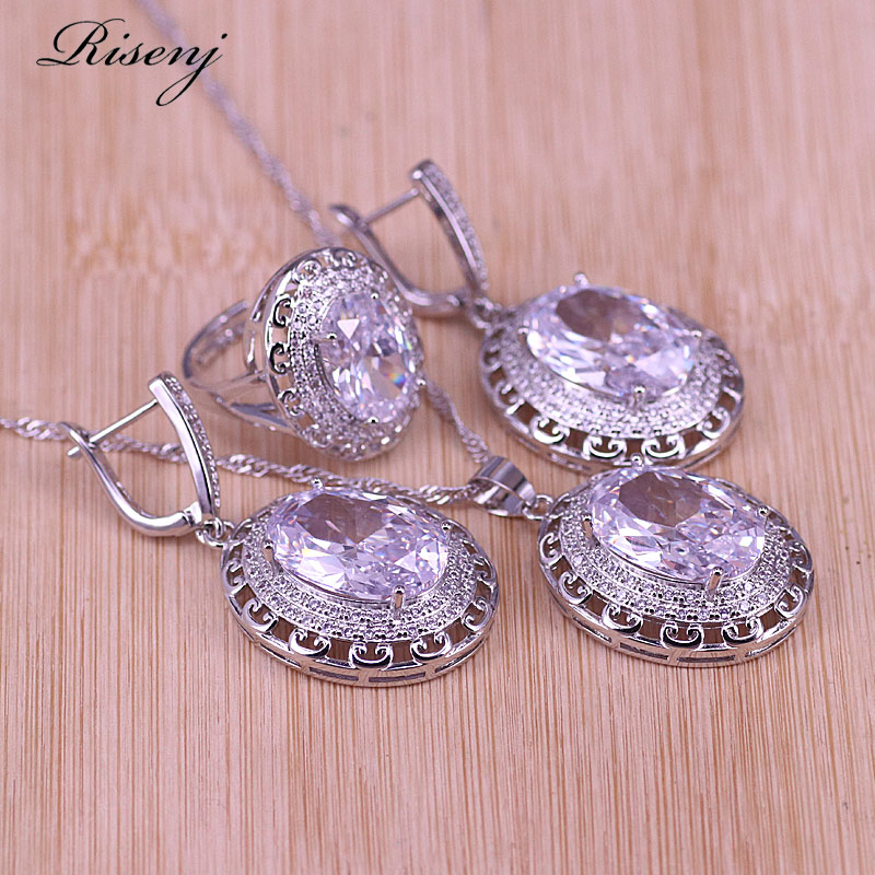Big White Crystal &Zircon Silver Color Jewelry Earrings Ring With Necklace Set Promotion Middle East Hot Sale Style