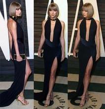 Сексуальное платье с глубоким v образным вырезом длинные черные
