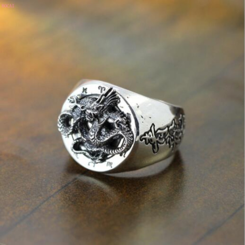 S925 sterling silver jewelry Personality trends manual Thai silver Blue Dragon Men's thai silver Ring for men