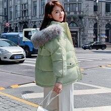 Winter Faux Fur Hooded Jacket Loose Womens Fashion Korean Short Cotton Coat